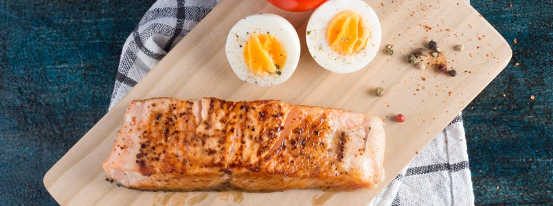 grilled salmon and hard-boiled eggs