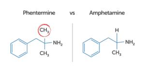 phentermine vs amphetamine (chemical structures)