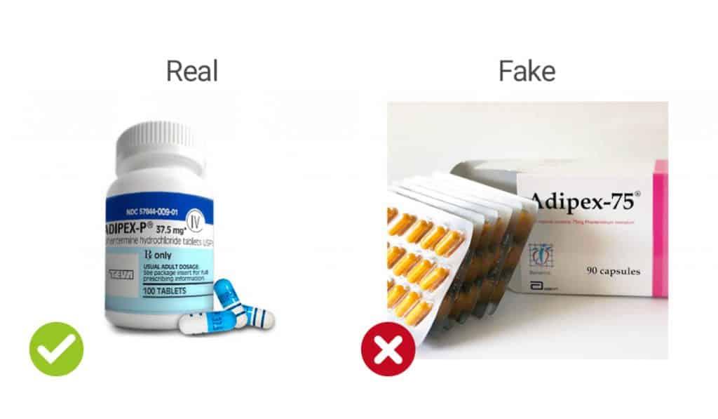 visual representation of real vs fake Adipex-P capsules