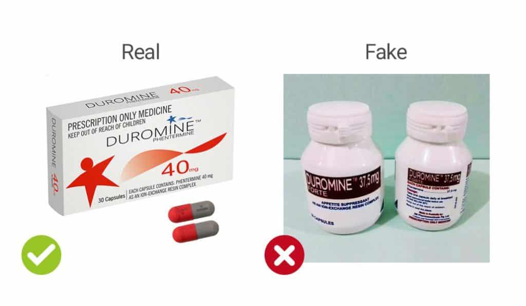 visual representation of real vs fake Duromine capsules