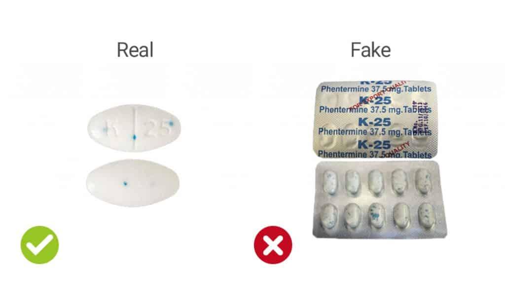 visual representation of real vs fake Adipex capsules (K25 imprint)