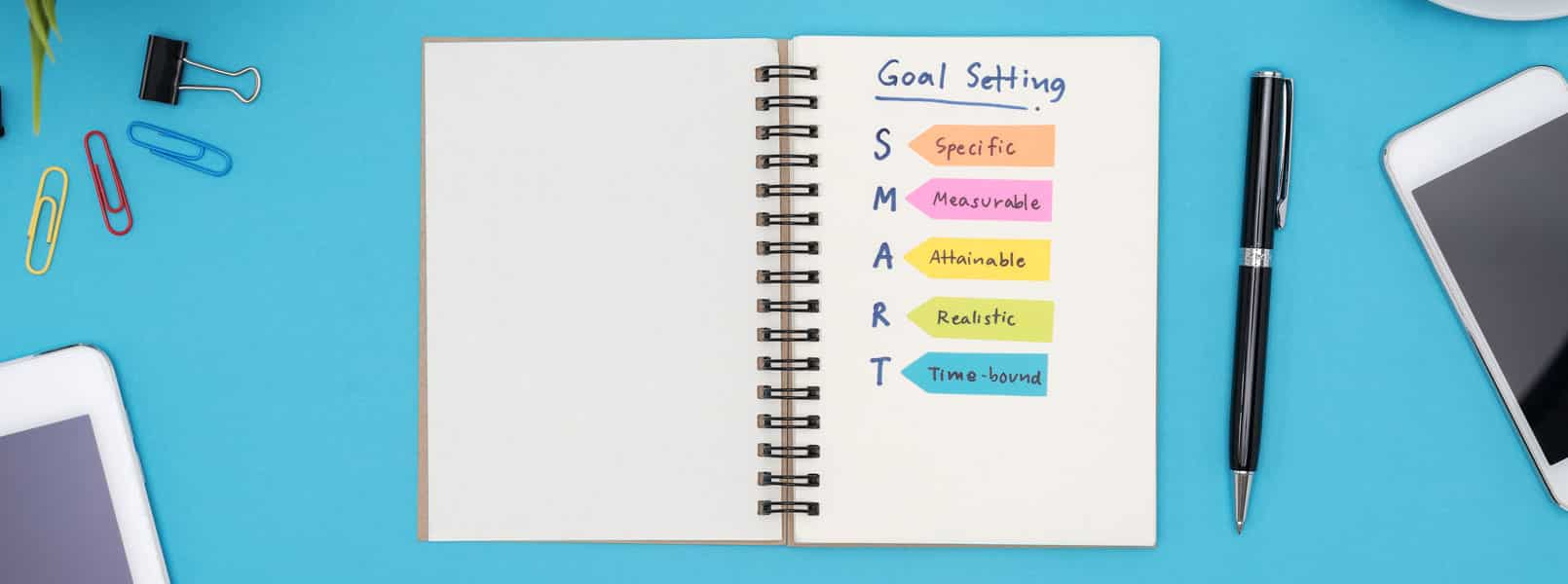 Goal-setting planner with an outline of the SMART goal strategy